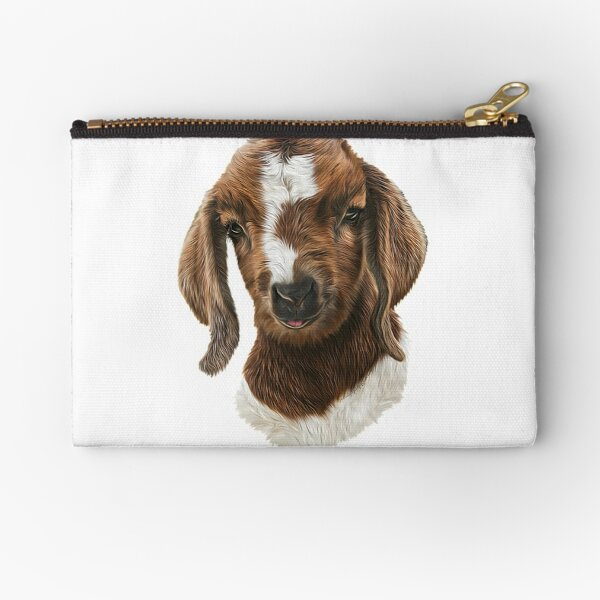 Portrait of a Goat  - Boer Goat Baby Nicklaus  Zipper Pouch