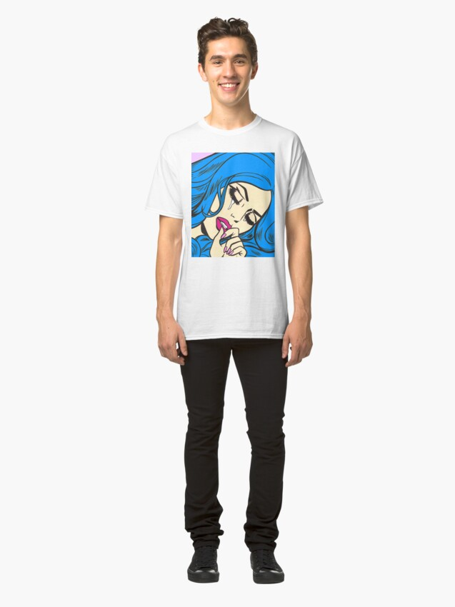 Alternate view of Blue Hair Crying Comic Girl Classic T-Shirt