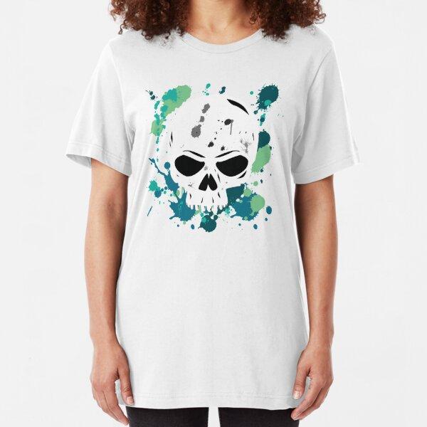 Vibrant Turquoise Skull Slim Fit T-Shirt