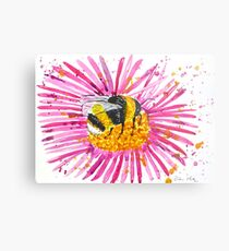Bumble bee and flower Metal Print