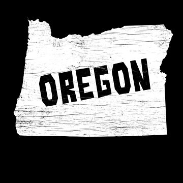Oregon Home Vintage Distressed Map Silhouette by YLGraphics
