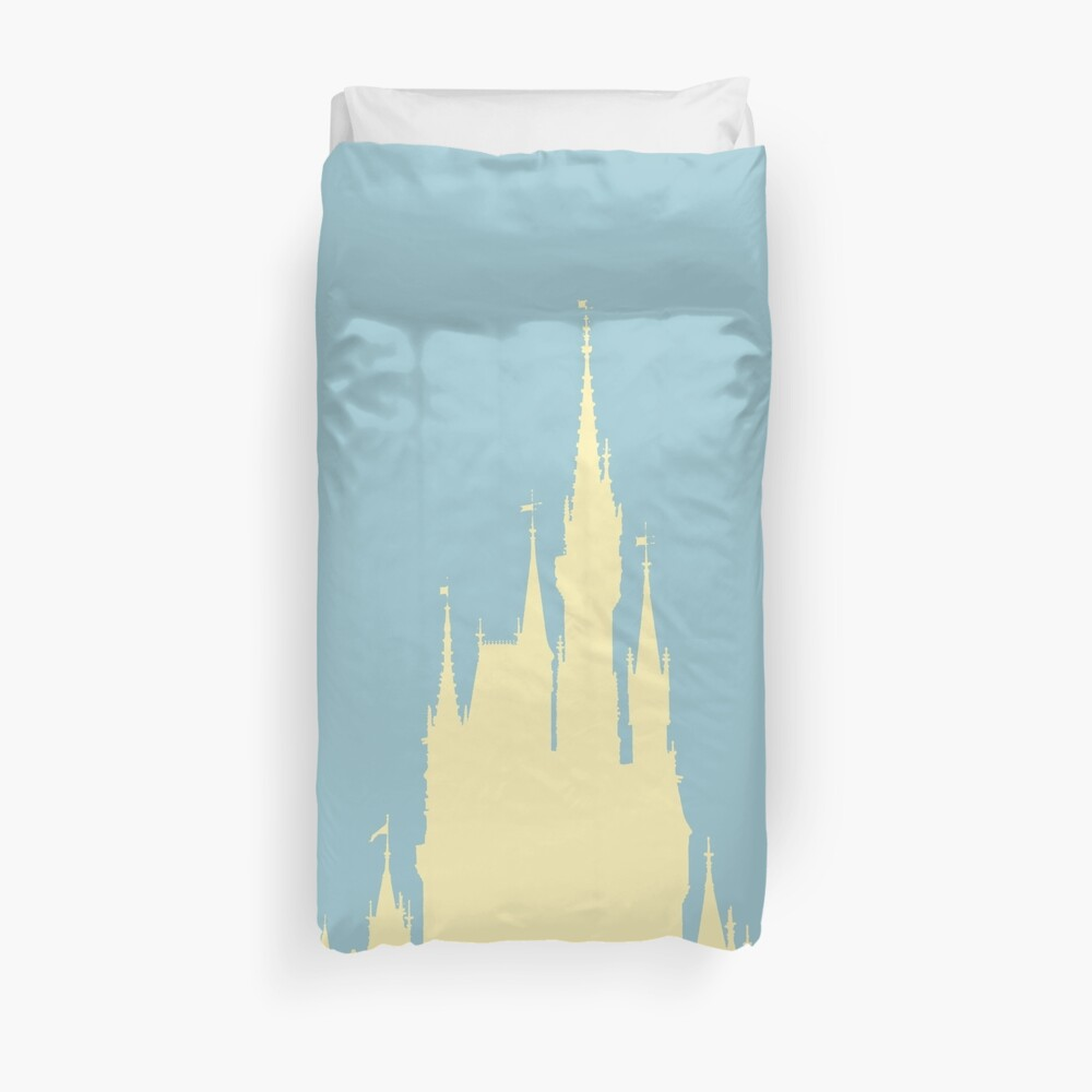 Magic Castle Silhouette Blue and Yellow Duvet Cover