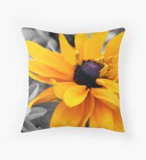 Yellow On Black & White Throw Pillow