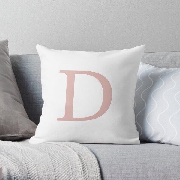 White Basic Rose Gold Monogram D Throw Pillow
