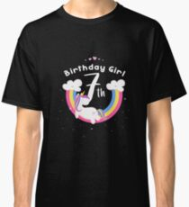 Unicorn 7th Birthday Girl - Gift For 7 Year Old Girl For 7th Birthday Girl Classic T-Shirt