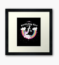 Unicorn 7th Birthday Girl - Gift For 7 Year Old Girl For 7th Birthday Girl Framed Print