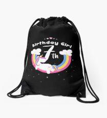 Unicorn 7th Birthday Girl - Gift For 7 Year Old Girl For 7th Birthday Girl Drawstring Bag