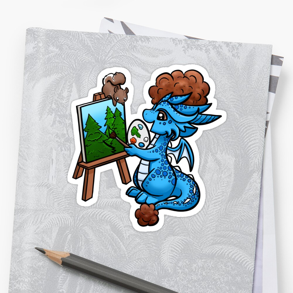 Bob Ross Drache Sticker