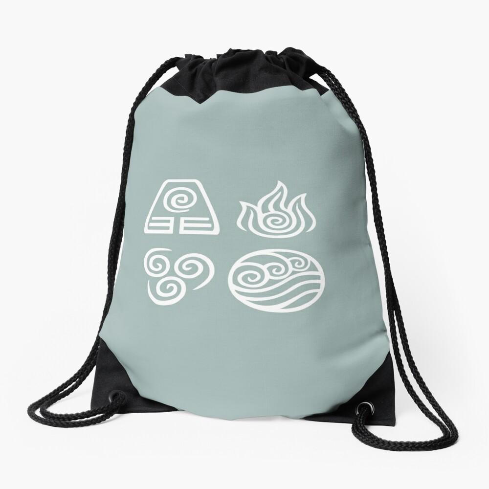 Bending All Four Elements - Blue Drawstring Bag