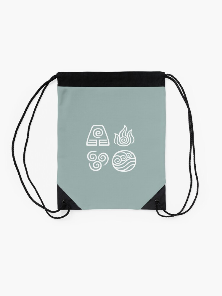 Alternate view of Bending All Four Elements - Blue Drawstring Bag