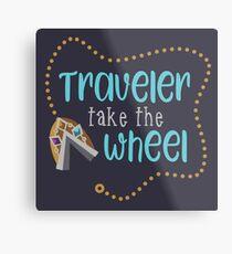 Traveler Take the Wheel Metal Print