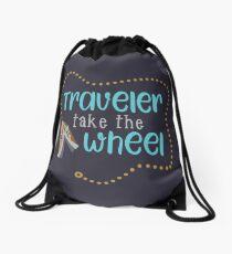 Traveler Take the Wheel Drawstring Bag