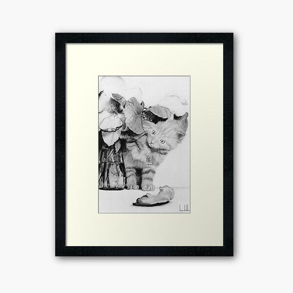 Kitten in the Flowers Framed Art Print