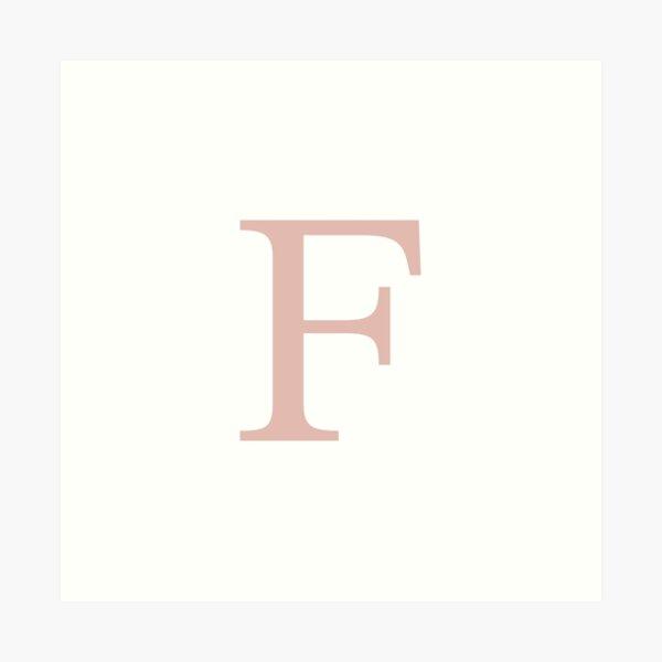 White Basic Rose Gold Monogram F Art Print