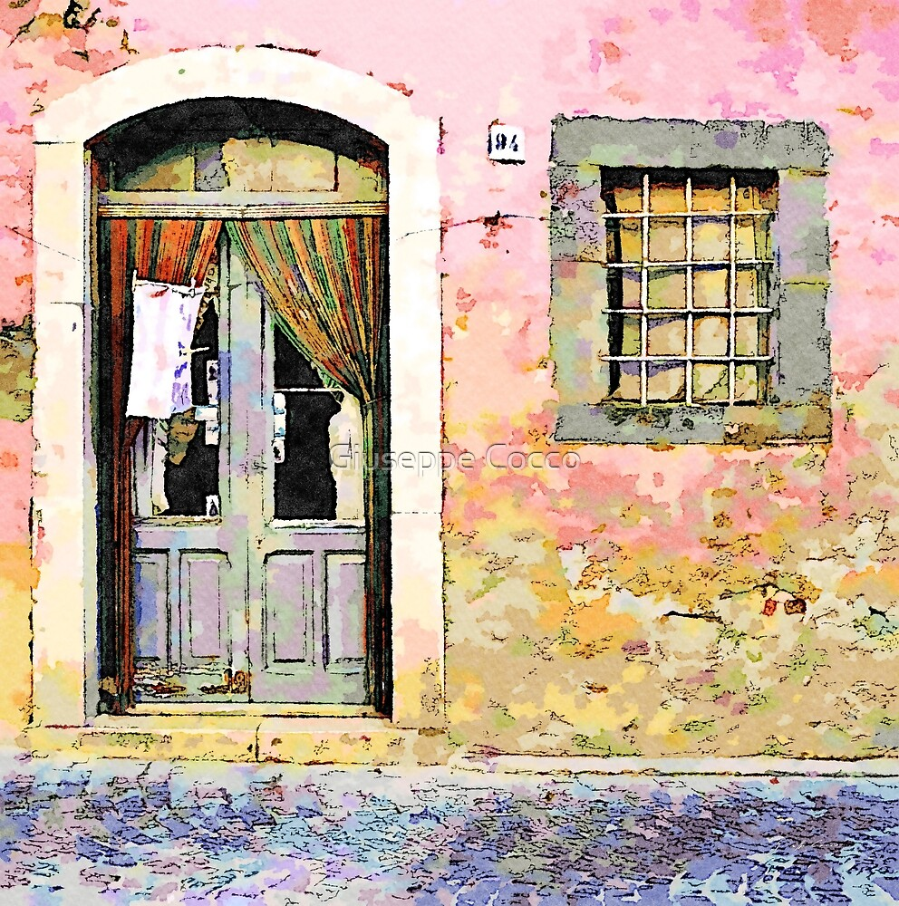 Vulture: door and window on pink wall by Giuseppe Cocco