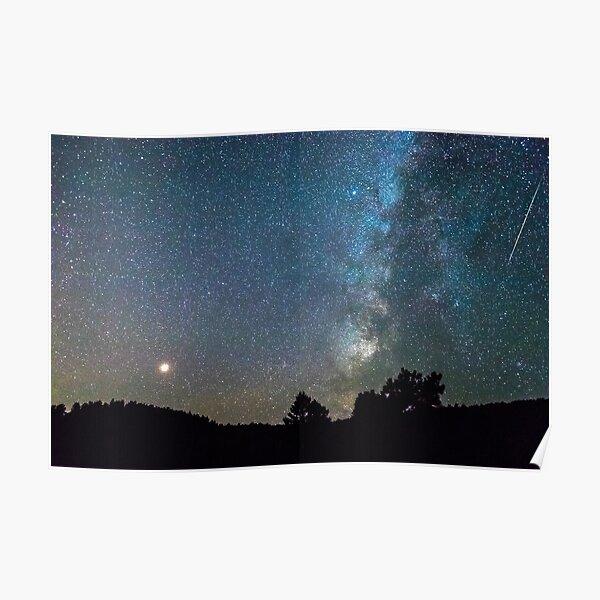 Mars - Perseid Meteor - Milky Way Poster