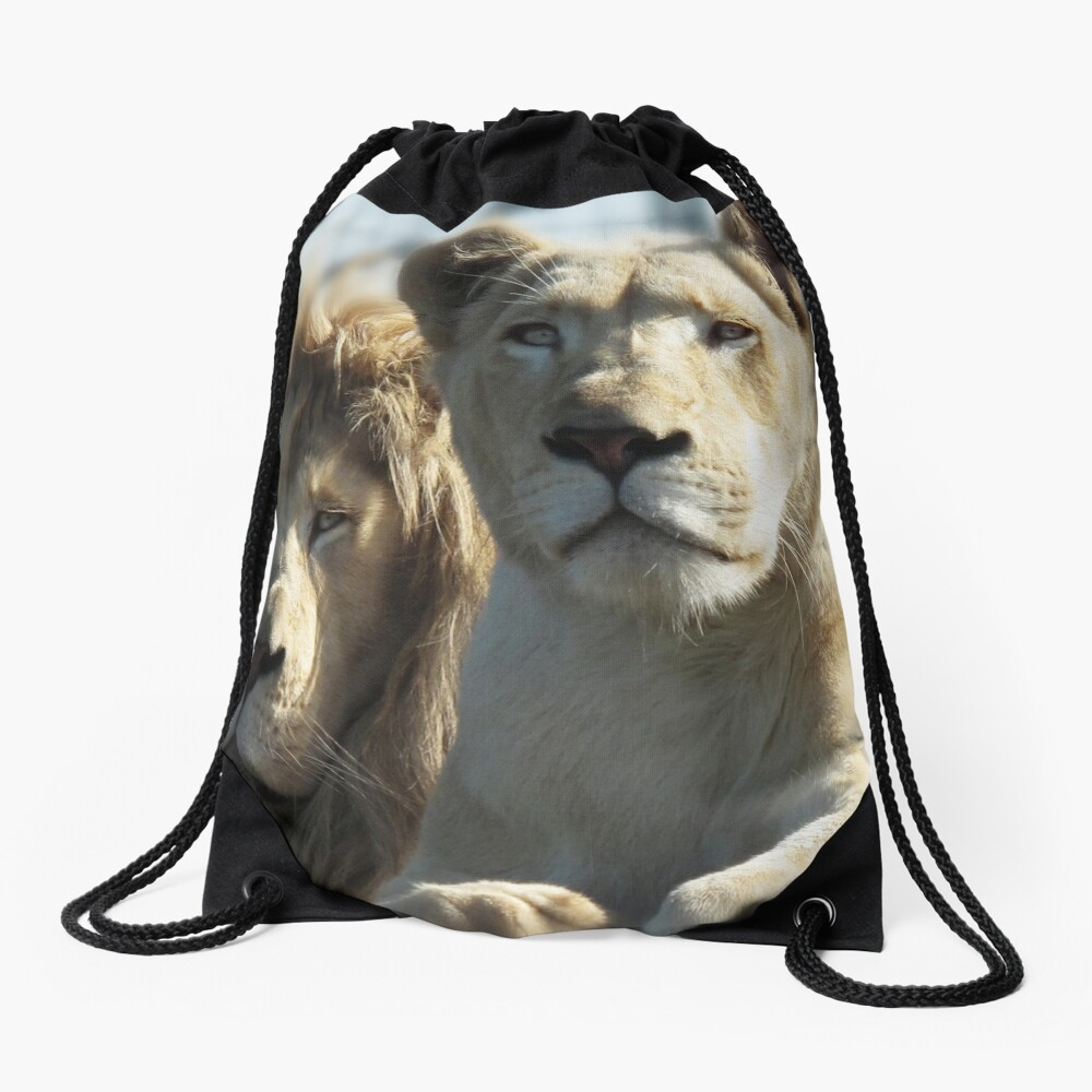 White Lions  Drawstring Bag