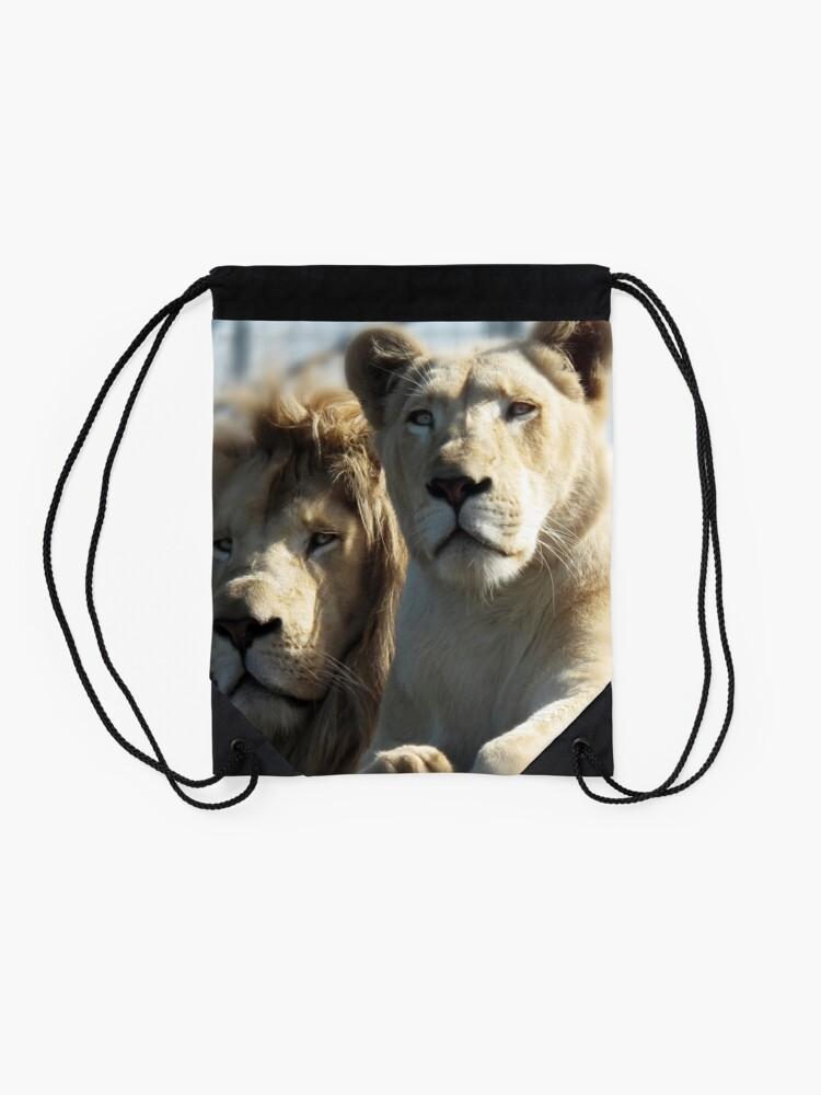 Alternate view of White Lions  Drawstring Bag