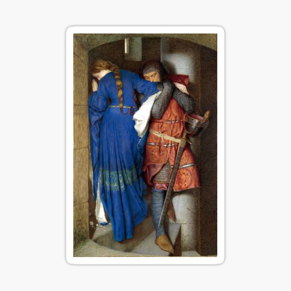The Meeting on the Turret Stairs - Frederick Burton 1864 Sticker
