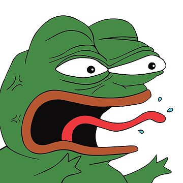 Pepe The Frog Mad Angry Raging and screaming REE with tongue out Rare PepeTheFrog from Kekistan by iresist