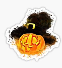 Halloween pumpkin glowing Art Sticker