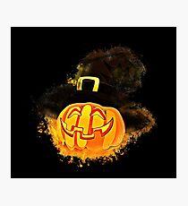 Halloween pumpkin glowing Art Photographic Print