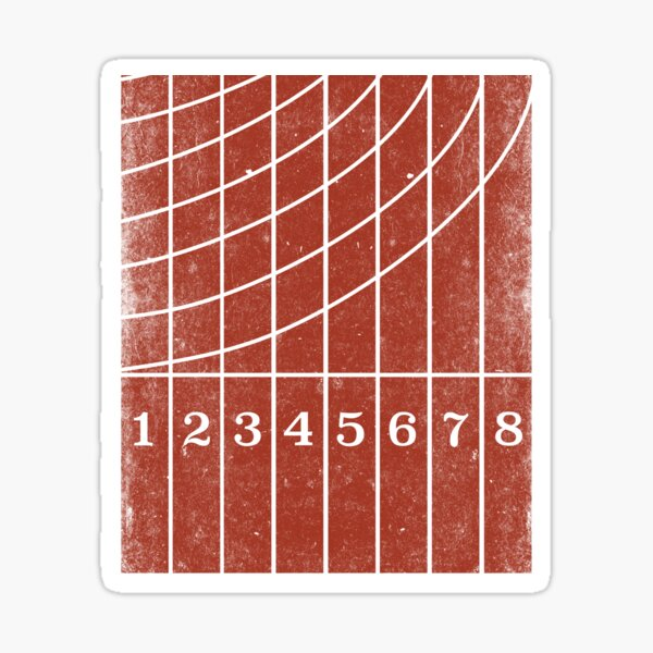 Red Running Track Distressed Style Sticker