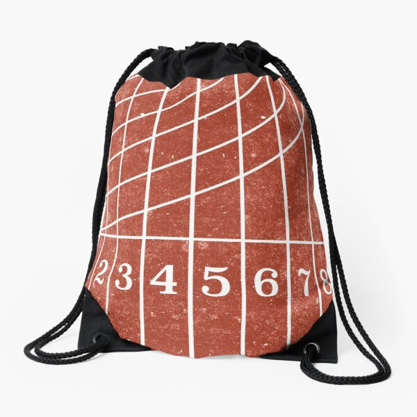 Red Running Track Distressed Style Drawstring Bag