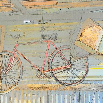 OLD PUSH BIKE HANGING ON WALL IN OLD SHED by Tinpants