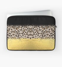 Wilder - black gold foil cheetah print animal pattern spots dots bold modern design sparkle glitter Laptop Sleeve