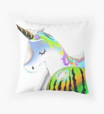 The Unicorn and the Watermelon  Throw Pillow