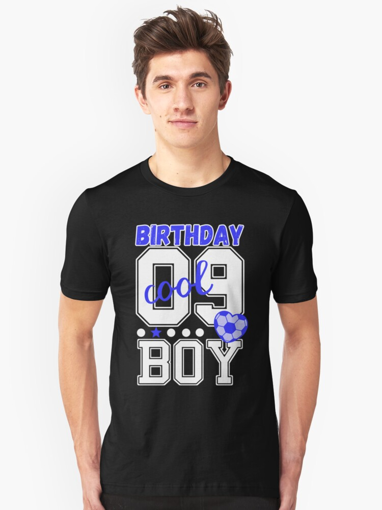 9 Birthday Boy 09 Boys Cool Blue Soccer Player Heart T Shirt By Xsylx