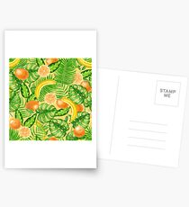 Tangerines, bananas and tropical leaves Postcards