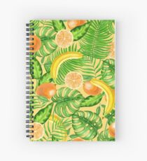 Tangerines, bananas and tropical leaves Spiral Notebook
