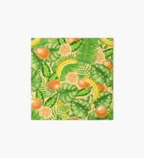 Tangerines, bananas and tropical leaves Art Board