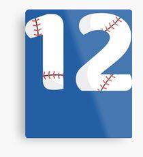 Number 12 Baseball #12 Metal Print