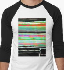 bohemian colors in green, orange, pink and black - watercolor abstract painting Men's Baseball ¾ T-Shirt