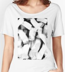 ghostly look abstract painting in grayscale and black and white Women's Relaxed Fit T-Shirt