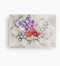 Bee on Concrete, Watercolor Painting Metal Print