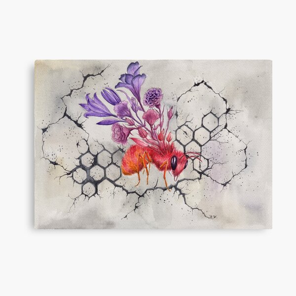 Bee on Concrete, Watercolor Painting Canvas Print
