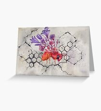Bee on Concrete, Watercolor Painting Greeting Card