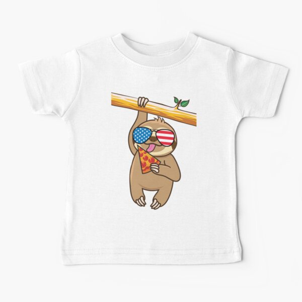 Cute Sloth Pizza July Fourth Baby T-Shirt