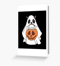 Boston Terrier Ghost Halloween Greeting Card