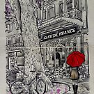 the cafe and the big tree by Loui  Jover