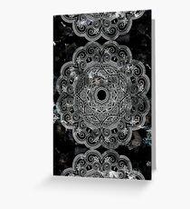 Black and white mandala design on marble background Greeting Card