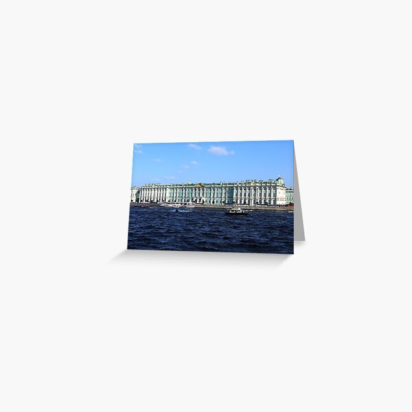 The facade of the Winter Palace. Embankment of the Neva River. Hermitage Museum. St. Petersburg. Greeting Card