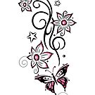 Tattoo Ranke mit Blüten, Sternen und Schmetterling von Christine Krahl