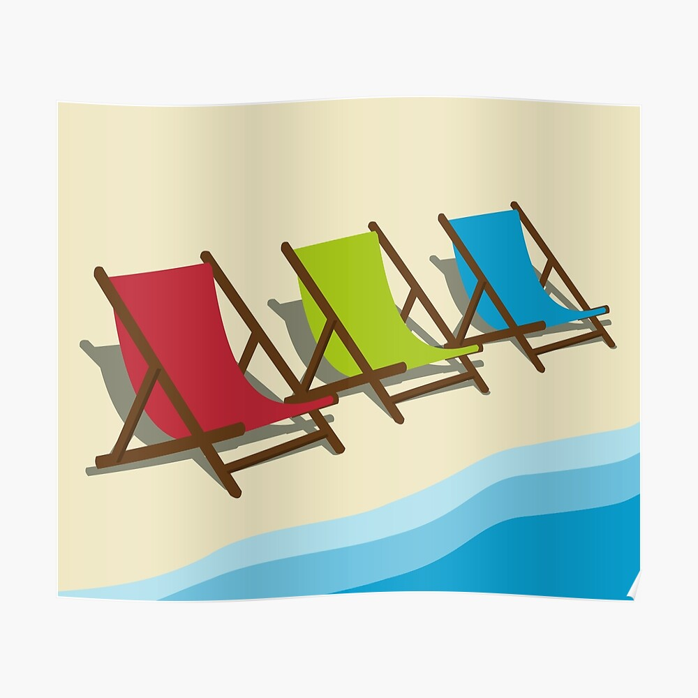Deck Chairs on the Beach Poster