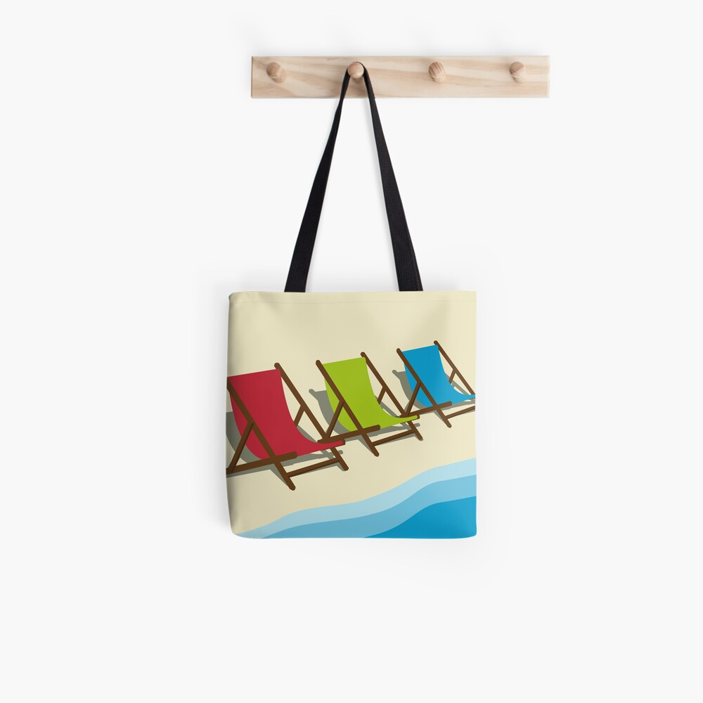 Deck Chairs on the Beach Tote Bag