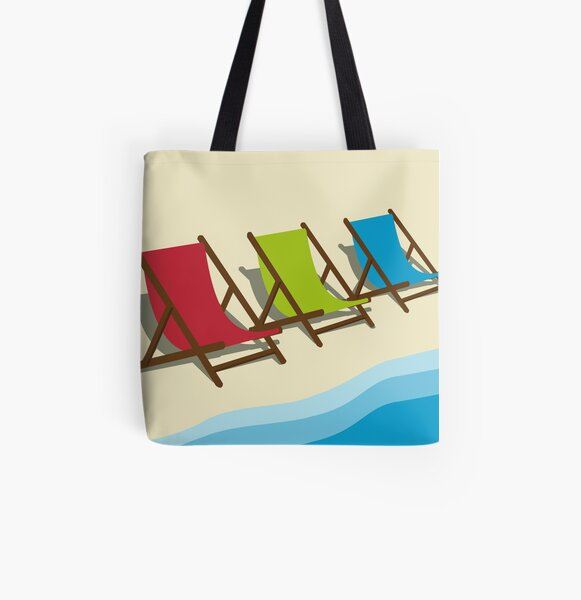 Deck Chairs on the Beach All Over Print Tote Bag